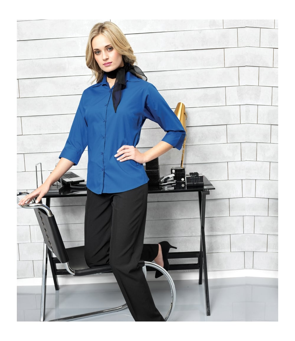 2c39d46cb10055 Premier Ladies 3/4 Sleeve Poplin Blouse - PR305 - PCL Corporatewear Ltd